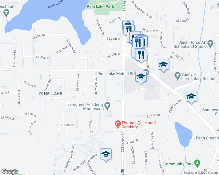 map of restaurants, bars, coffee shops, grocery stores, and more near 3330 226th Avenue Southeast in Sammamish