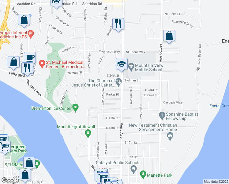 map of restaurants, bars, coffee shops, grocery stores, and more near 2122 Parker Place in Bremerton