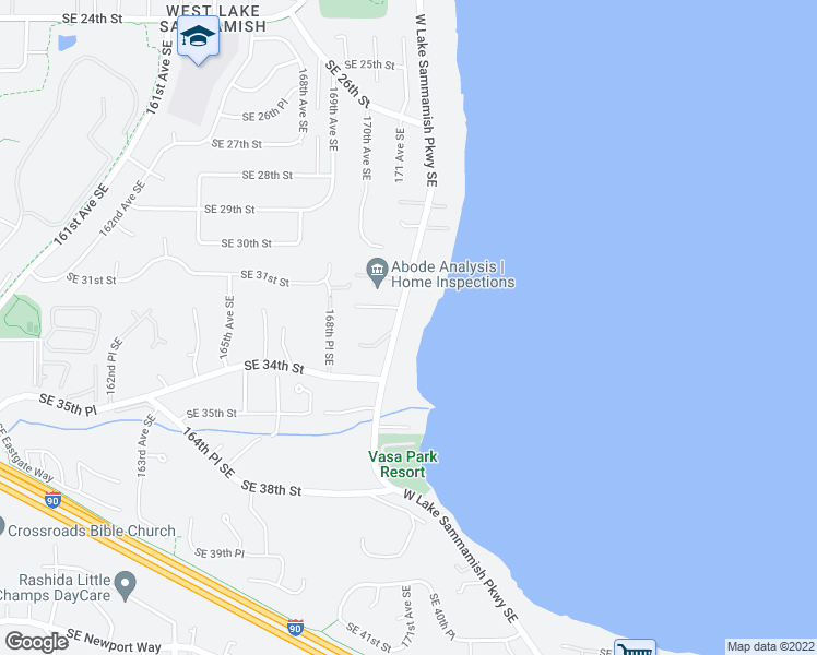 map of restaurants, bars, coffee shops, grocery stores, and more near 3226 West Lake Sammamish Parkway Southeast in Bellevue