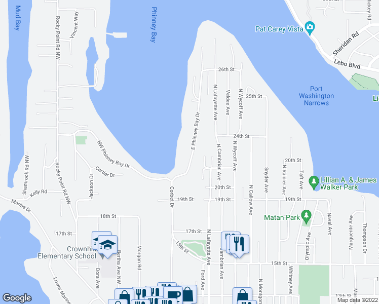 map of restaurants, bars, coffee shops, grocery stores, and more near 2135 East Phinney Bay Drive in Bremerton