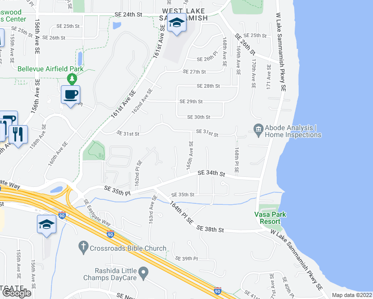 map of restaurants, bars, coffee shops, grocery stores, and more near 3209 165th Avenue Southeast in Bellevue