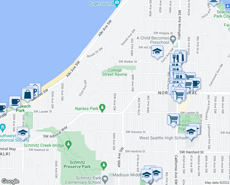 map of restaurants, bars, coffee shops, grocery stores, and more near Southwest Waite Street in Seattle