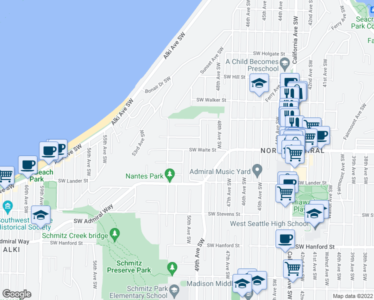 map of restaurants, bars, coffee shops, grocery stores, and more near SW Waite St in Seattle
