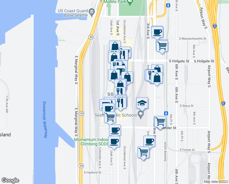 map of restaurants, bars, coffee shops, grocery stores, and more near 2225 1st Avenue South in Seattle