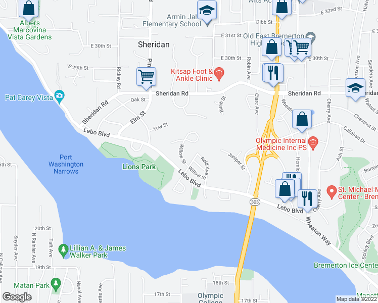 map of restaurants, bars, coffee shops, grocery stores, and more near 322 Willow Street in Bremerton