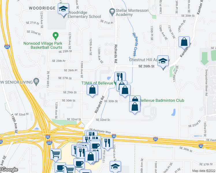 map of restaurants, bars, coffee shops, grocery stores, and more near Richards Road & Southeast 28th Place in Bellevue