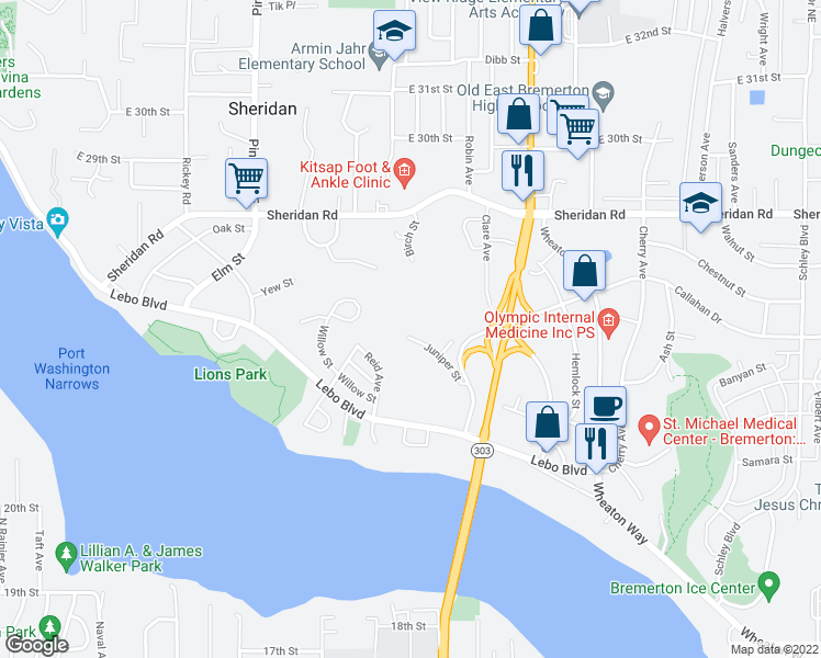 map of restaurants, bars, coffee shops, grocery stores, and more near 506 Juniper Street in Bremerton