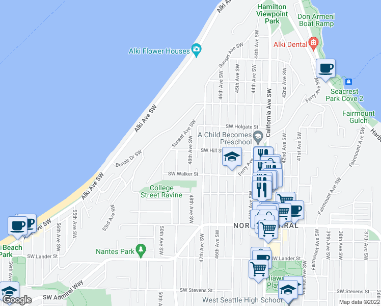 map of restaurants, bars, coffee shops, grocery stores, and more near 1924 48th Avenue Southwest in Seattle