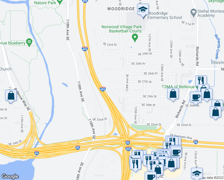 map of restaurants, bars, coffee shops, grocery stores, and more near 2731 124th Avenue Southeast in Bellevue