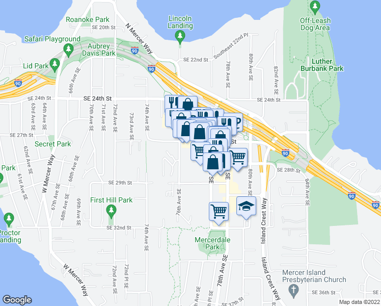 map of restaurants, bars, coffee shops, grocery stores, and more near 2720 76th Avenue Southeast in Mercer Island