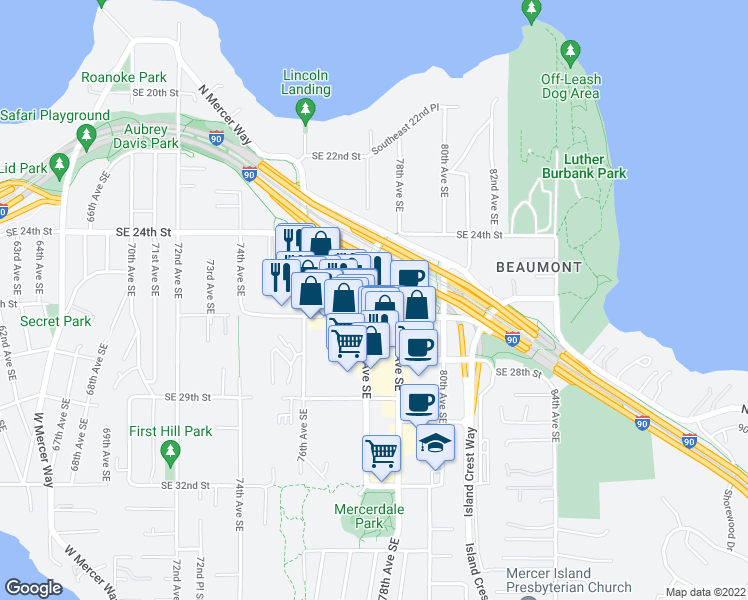 map of restaurants, bars, coffee shops, grocery stores, and more near 2630 77th Avenue Southeast in Mercer Island