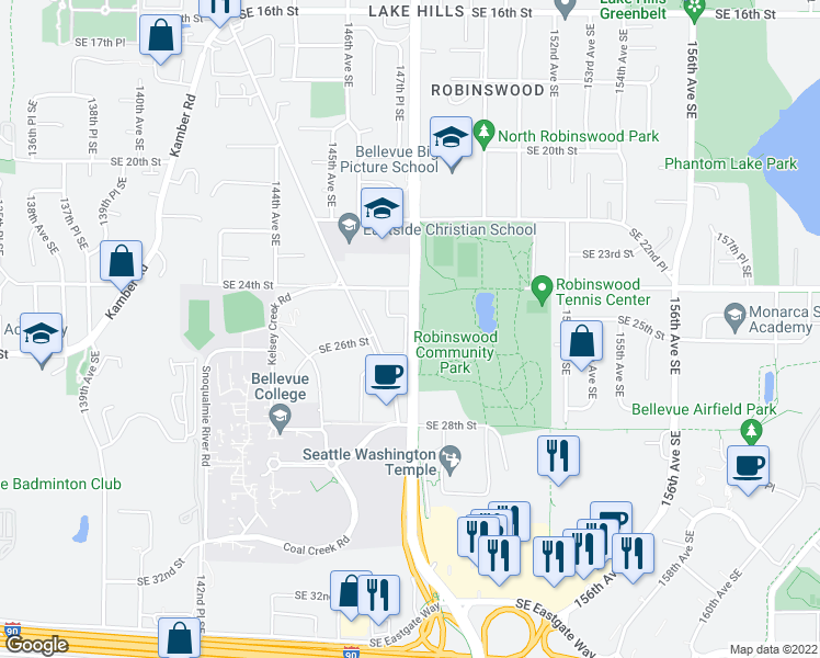 map of restaurants, bars, coffee shops, grocery stores, and more near 2627 148th Avenue Southeast in Bellevue