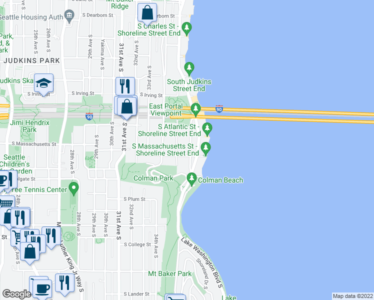 map of restaurants, bars, coffee shops, grocery stores, and more near 1525 36th Avenue South in Seattle