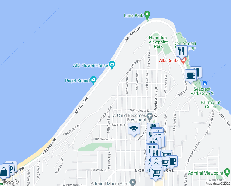 map of restaurants, bars, coffee shops, grocery stores, and more near 1633 Sunset Avenue Southwest in Seattle