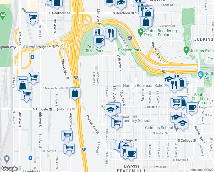 map of restaurants, bars, coffee shops, grocery stores, and more near 13th Avenue South & South Massachusetts Street in Seattle
