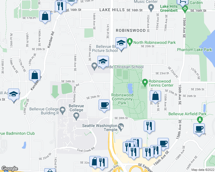 map of restaurants, bars, coffee shops, grocery stores, and more near 14715 Southeast 24th Street in Bellevue