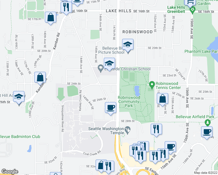 map of restaurants, bars, coffee shops, grocery stores, and more near 2501 148th Avenue Southeast in Bellevue