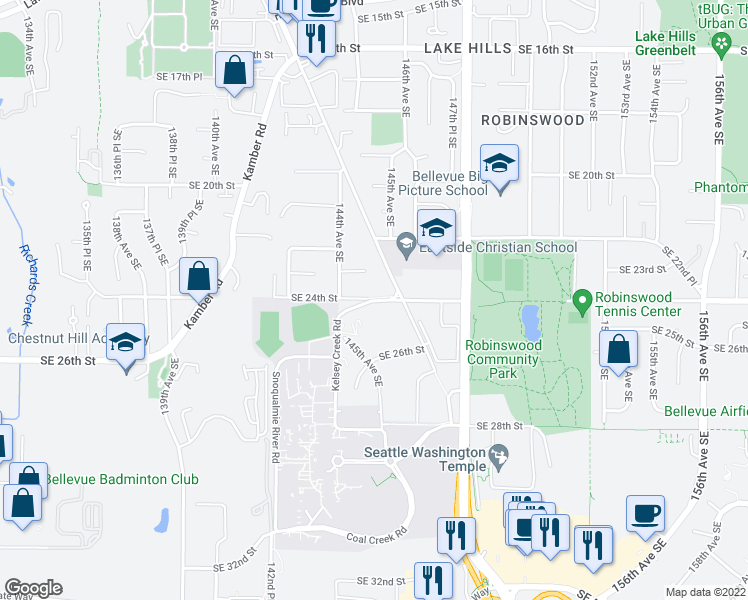 map of restaurants, bars, coffee shops, grocery stores, and more near 14401-14485 Southeast 24th Street in Bellevue