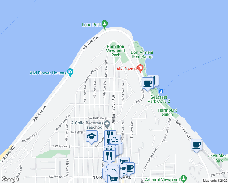 map of restaurants, bars, coffee shops, grocery stores, and more near California Avenue Southwest & Southwest Seattle Street in Seattle