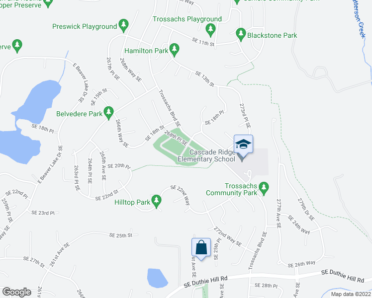 map of restaurants, bars, coffee shops, grocery stores, and more near 1855 Trossachs Boulevard Southeast in Sammamish