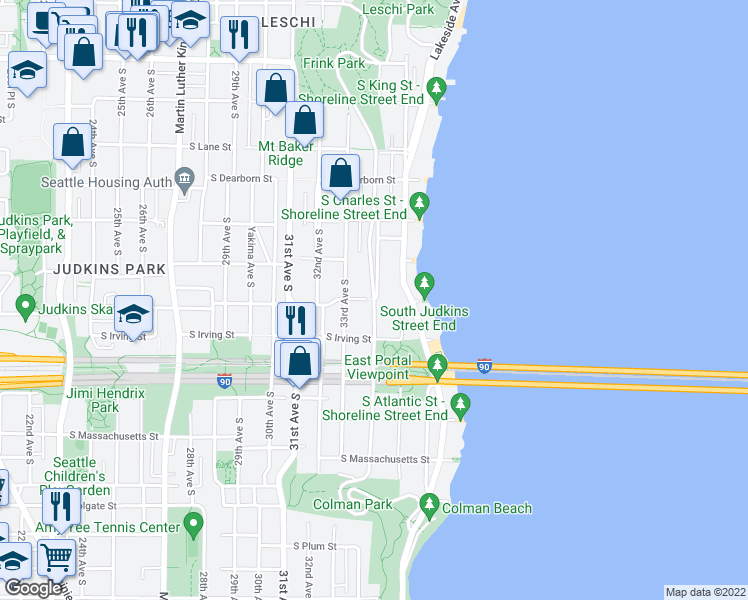 map of restaurants, bars, coffee shops, grocery stores, and more near 1301 Lake Washington Boulevard South in Seattle