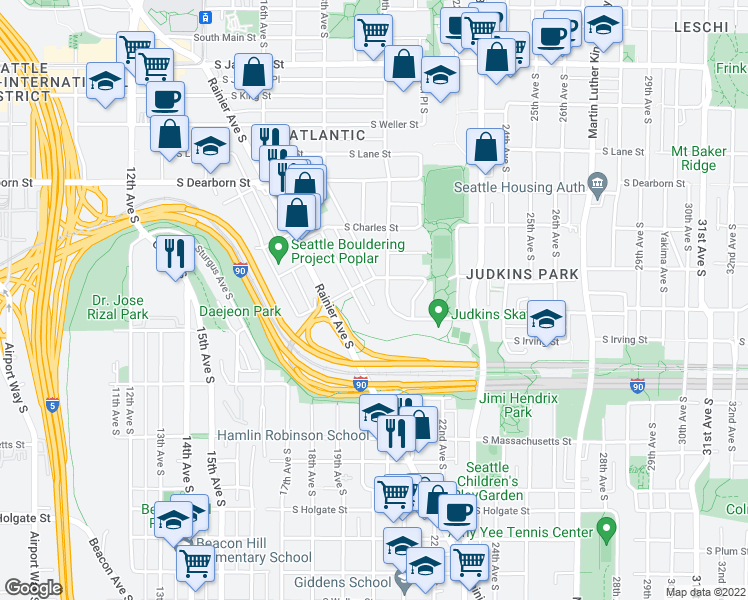 map of restaurants, bars, coffee shops, grocery stores, and more near 1813 South Bush Place in Seattle