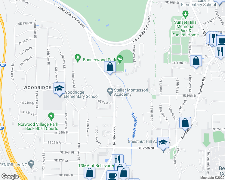 map of restaurants, bars, coffee shops, grocery stores, and more near 132nd Avenue Southeast in Bellevue