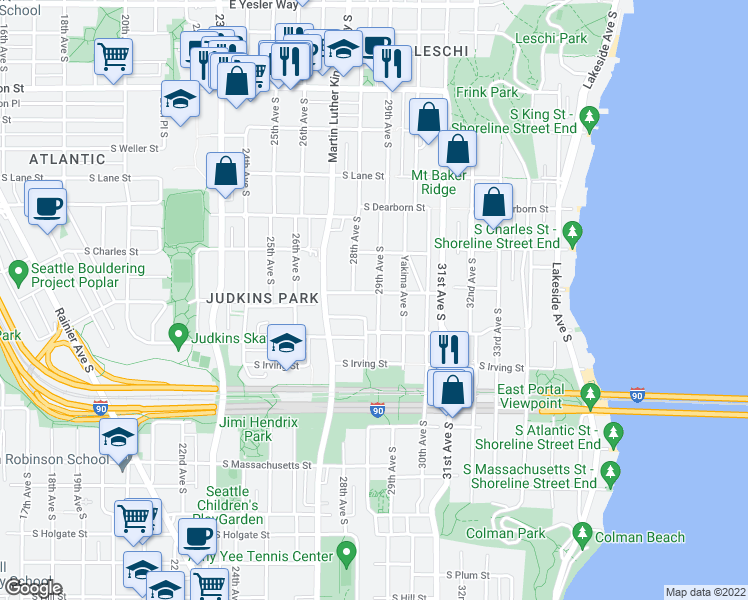 map of restaurants, bars, coffee shops, grocery stores, and more near 1105 29th Avenue South in Seattle