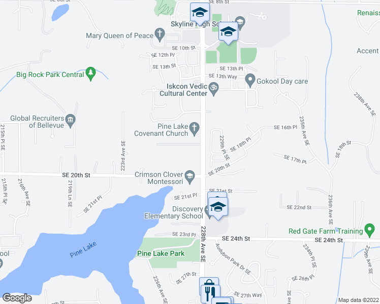 map of restaurants, bars, coffee shops, grocery stores, and more near 22703 Southeast 18th Street in Sammamish