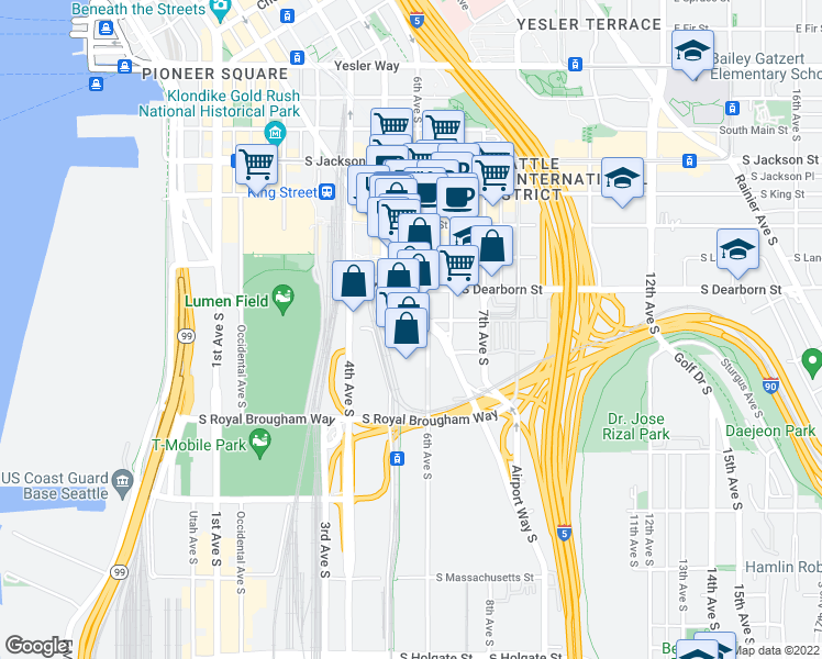 map of restaurants, bars, coffee shops, grocery stores, and more near 831 Airport Way South in Seattle