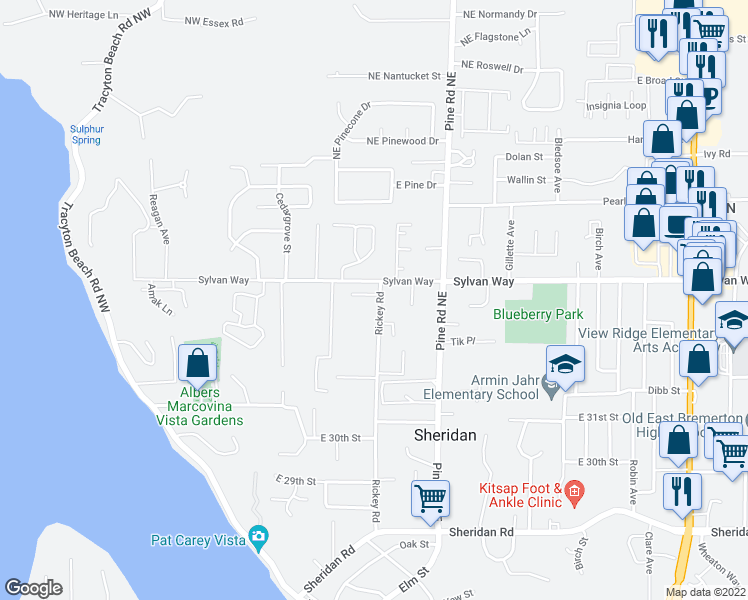 map of restaurants, bars, coffee shops, grocery stores, and more near 359 Stonewood Place in Bremerton