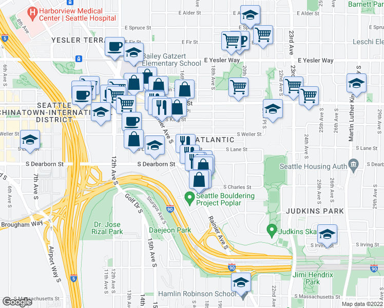 map of restaurants, bars, coffee shops, grocery stores, and more near 1617 South Lane Street in Seattle