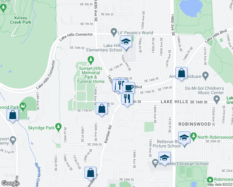 map of restaurants, bars, coffee shops, grocery stores, and more near in Bellevue
