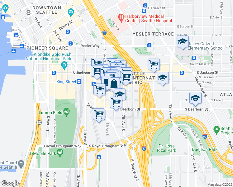 map of restaurants, bars, coffee shops, grocery stores, and more near 606 Maynard Avenue South in Seattle