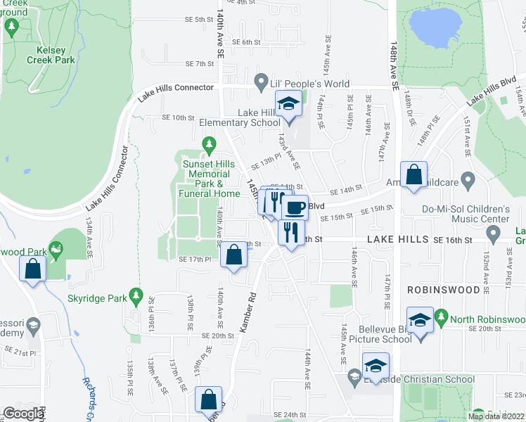 map of restaurants, bars, coffee shops, grocery stores, and more near 1362-1398 145th Place Southeast in Bellevue