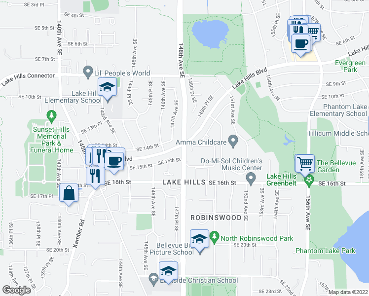 map of restaurants, bars, coffee shops, grocery stores, and more near 1349 149th Place Southeast in Bellevue