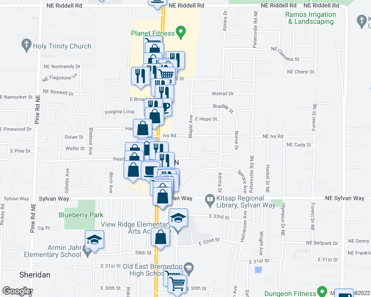 map of restaurants, bars, coffee shops, grocery stores, and more near 1303 Ivy Road in Bremerton