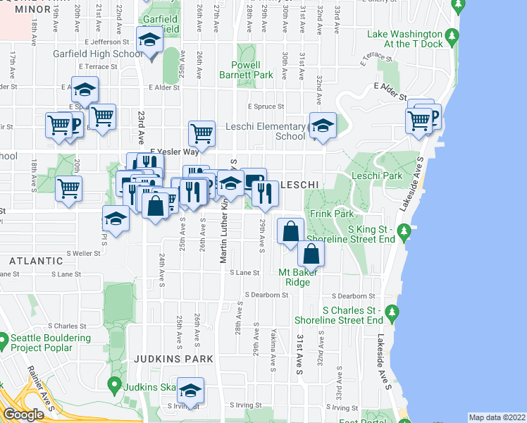 map of restaurants, bars, coffee shops, grocery stores, and more near South Jackson Street & 29th Avenue South in Seattle