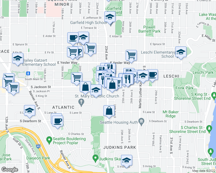 map of restaurants, bars, coffee shops, grocery stores, and more near 23rd Ave S & S Jackson St in Seattle