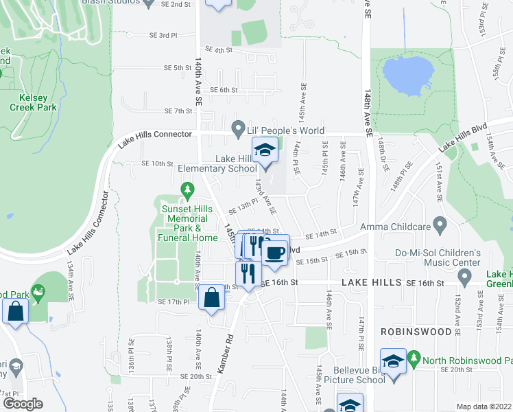 map of restaurants, bars, coffee shops, grocery stores, and more near 1304 142nd Place Southeast in Bellevue