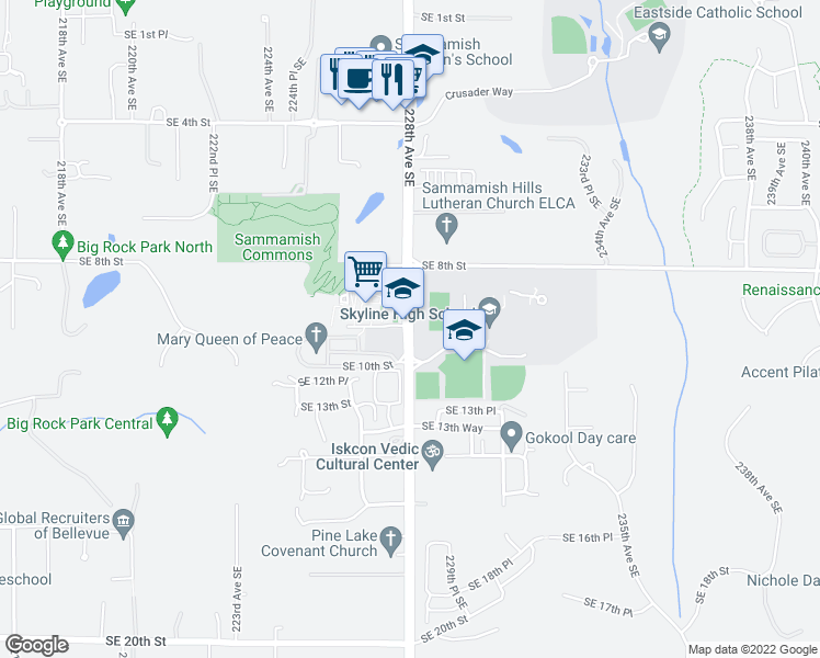map of restaurants, bars, coffee shops, grocery stores, and more near 1127-1209 228th Avenue Southeast in Sammamish