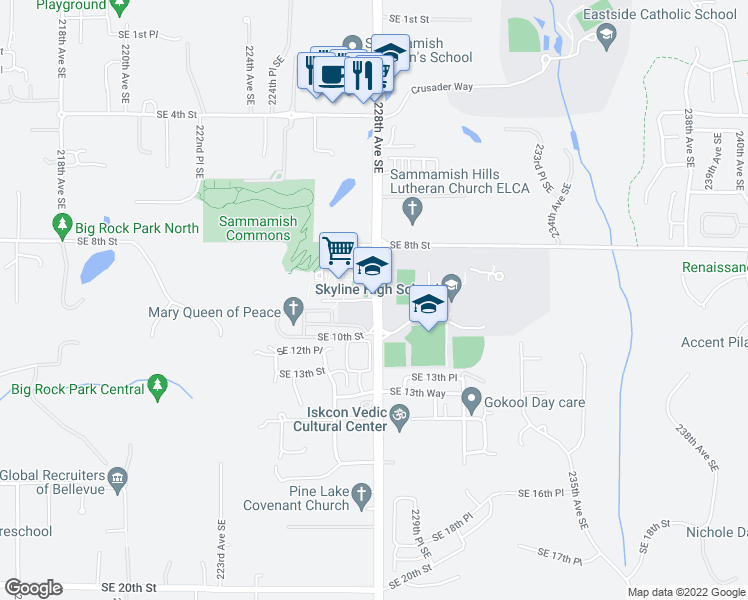 map of restaurants, bars, coffee shops, grocery stores, and more near 228th Avenue Southeast in Sammamish