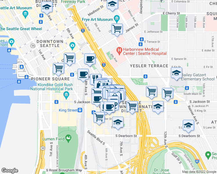 map of restaurants, bars, coffee shops, grocery stores, and more near 601 South Washington Street in Seattle