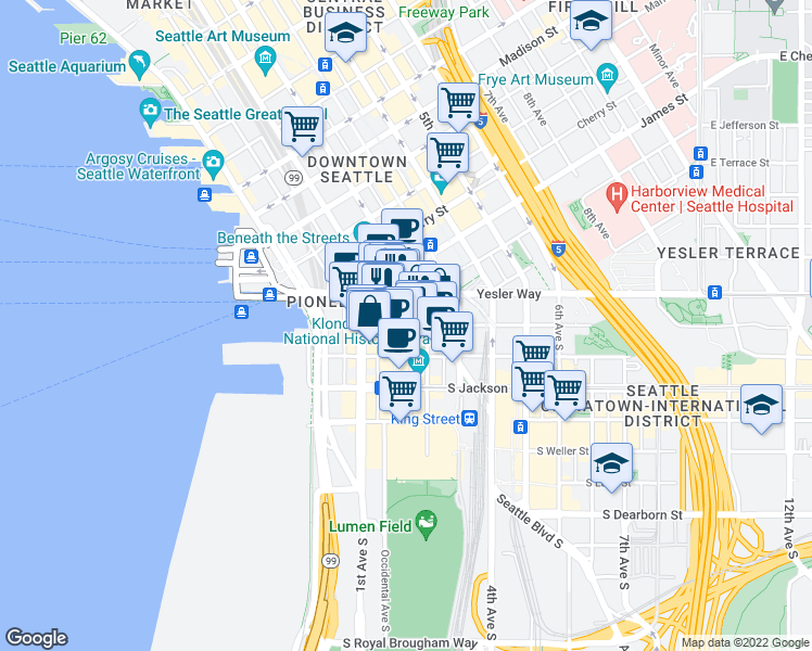 map of restaurants, bars, coffee shops, grocery stores, and more near 167 South Washington Street in Seattle