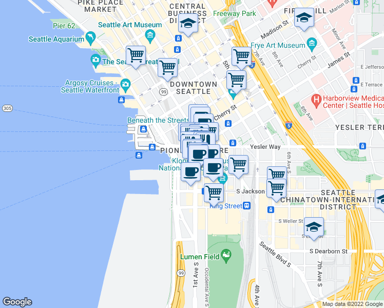 map of restaurants, bars, coffee shops, grocery stores, and more near 111 1st Avenue South in Seattle