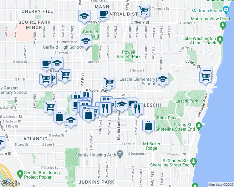map of restaurants, bars, coffee shops, grocery stores, and more near 2703 East Yesler Way in Seattle