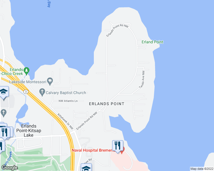 map of restaurants, bars, coffee shops, grocery stores, and more near Erlands Point Road Northwest in Bremerton