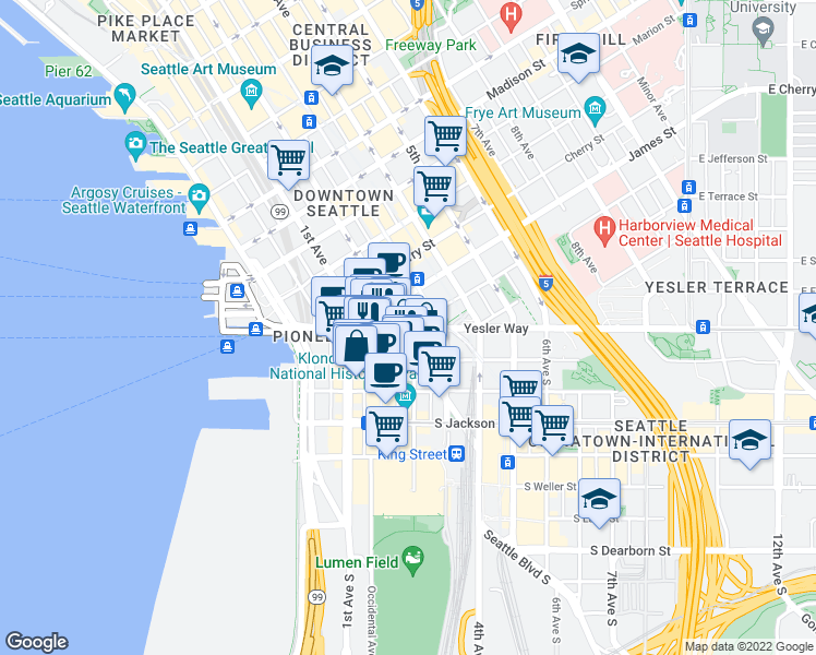 map of restaurants, bars, coffee shops, grocery stores, and more near South Washington Street in Seattle