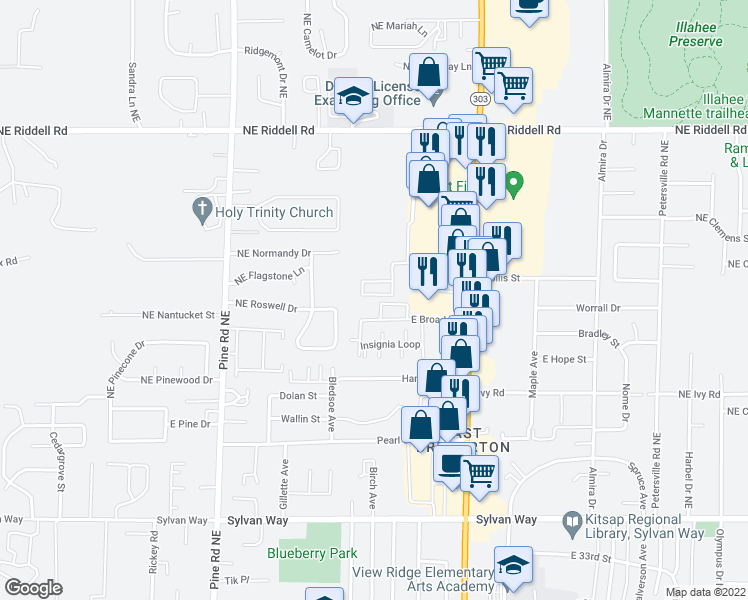 map of restaurants, bars, coffee shops, grocery stores, and more near 4195 Wheaton Way in Bremerton