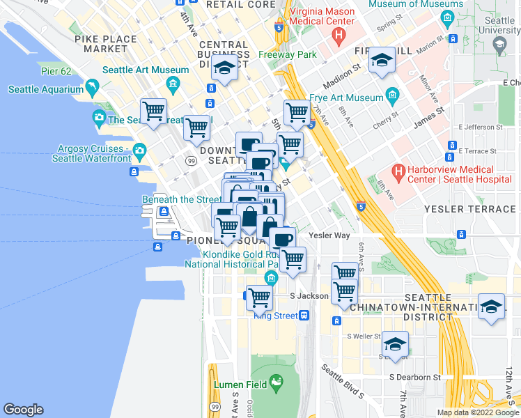 map of restaurants, bars, coffee shops, grocery stores, and more near 606 2nd Avenue in Seattle